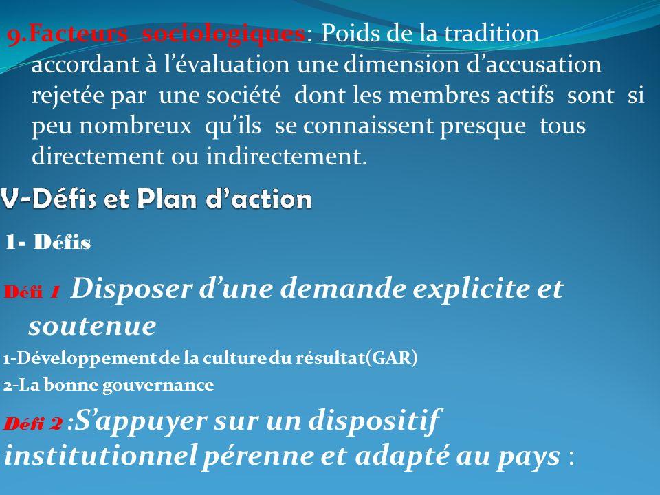 1- Défis Défi 1 Disposer dune demande explicite et soutenue 1-Développement de la culture du résultat(GAR) 2-La bonne gouvernance Défi 2 : Sappuyer su