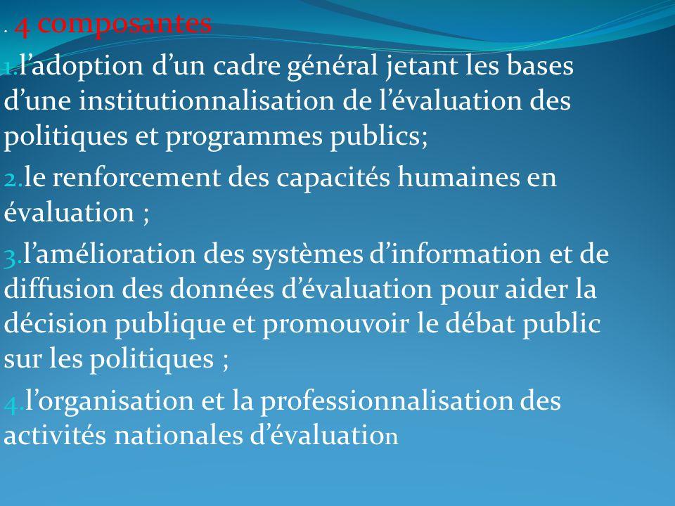 . 4 composantes 1. ladoption dun cadre général jetant les bases dune institutionnalisation de lévaluation des politiques et programmes publics; 2. le