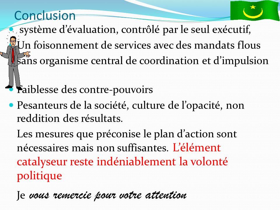 Conclusion système dévaluation, contrôlé par le seul exécutif, Un foisonnement de services avec des mandats flous sans organisme central de coordination et dimpulsion.