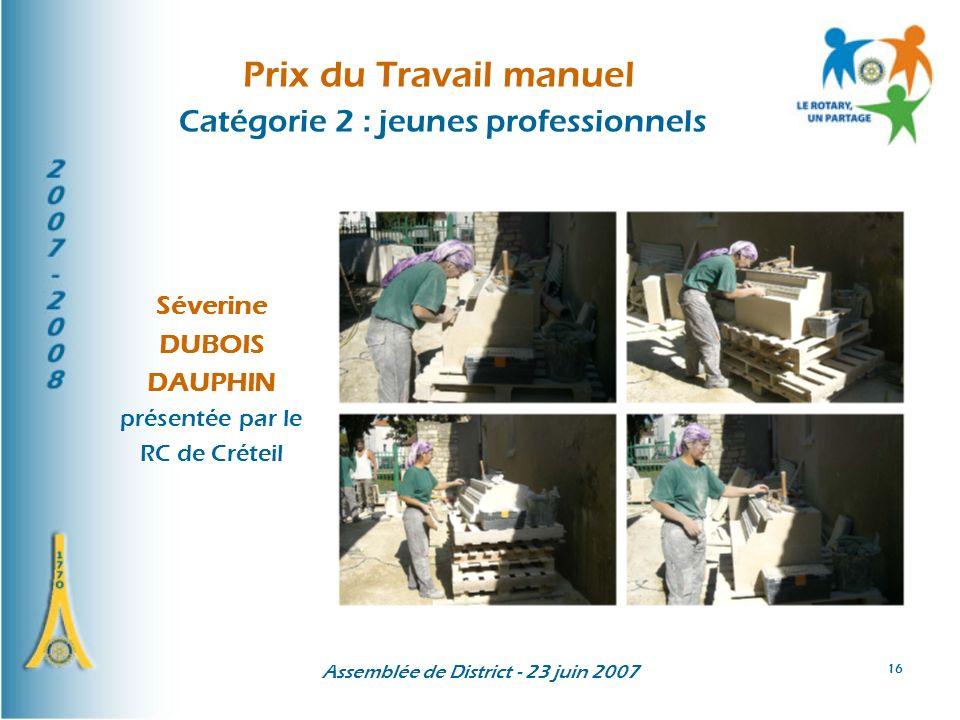 Assemblée de District - 23 juin 2007 16 Prix du Travail manuel Catégorie 2 : jeunes professionnels Séverine DUBOIS DAUPHIN présentée par le RC de Crét