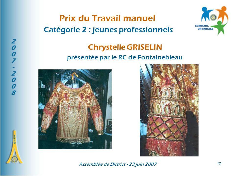 Assemblée de District - 23 juin 2007 17 Prix du Travail manuel Catégorie 2 : jeunes professionnels Chrystelle GRISELIN présentée par le RC de Fontaine