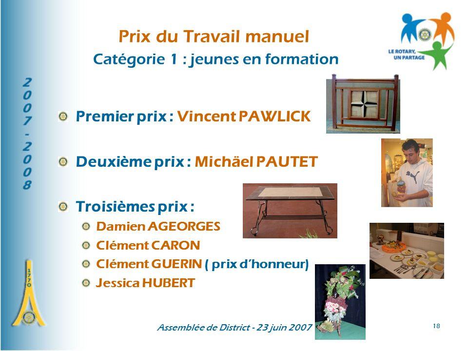Assemblée de District - 23 juin 2007 18 Prix du Travail manuel Catégorie 1 : jeunes en formation Premier prix : Vincent PAWLICK Deuxième prix : Michäe