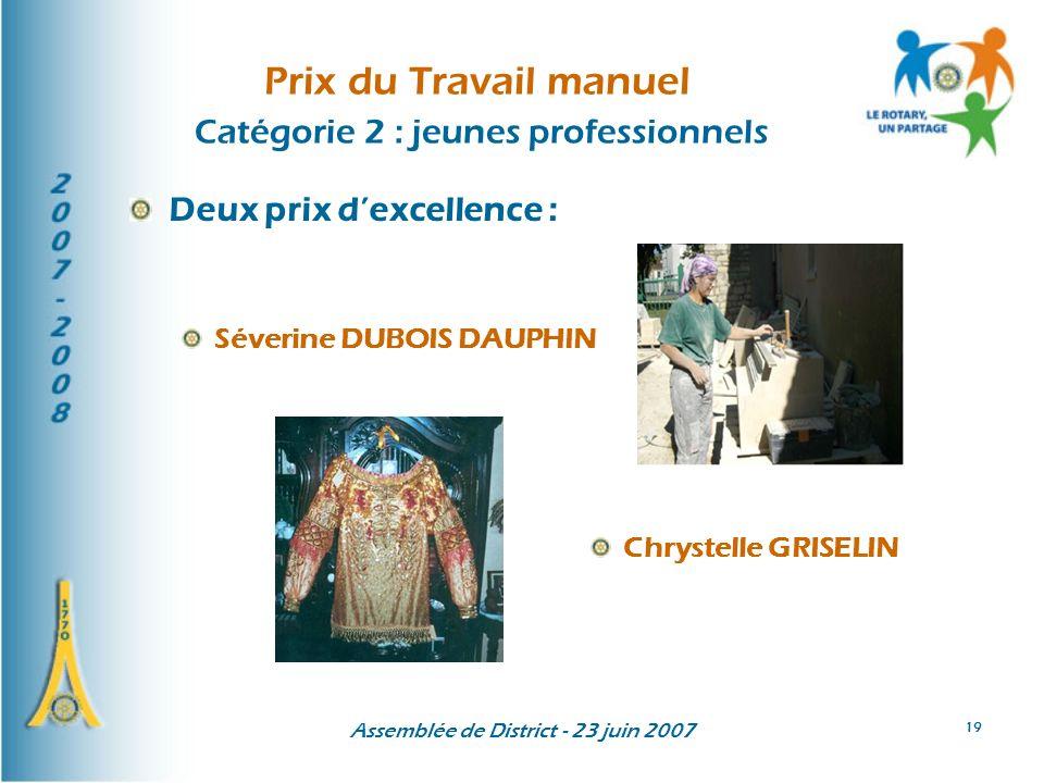 Assemblée de District - 23 juin 2007 19 Prix du Travail manuel Catégorie 2 : jeunes professionnels Deux prix dexcellence : Séverine DUBOIS DAUPHIN Chr