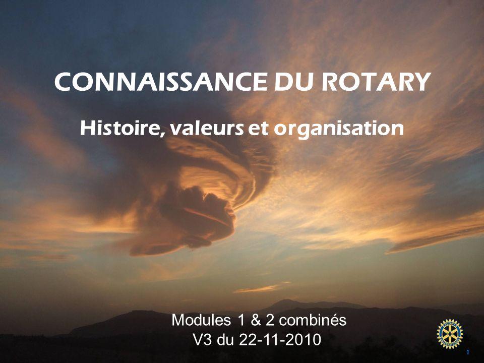 Module 1 & 2 combinés – v3 du 22-11-2010 CONNAISSANCE DU ROTARY Histoire, valeurs et organisation Proposé par Henry CARRE Past Gouverneur 1997-1998 et