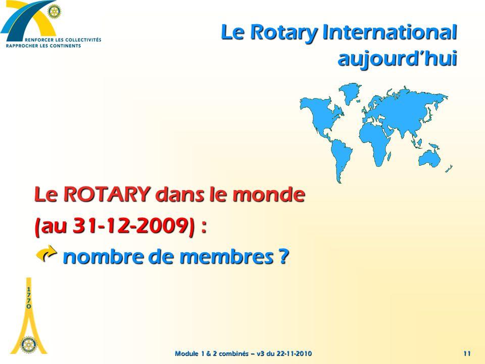 Module 1 & 2 combinés – v3 du 22-11-2010 11 Le ROTARY dans le monde (au 31-12-2009) : nombre de membres ? Le Rotary International aujourdhui