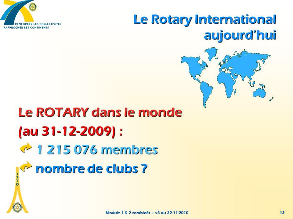 Module 1 & 2 combinés – v3 du 22-11-2010 12 Le ROTARY dans le monde (au 31-12-2009) : 1 215 076 membres nombre de clubs ? Le Rotary International aujo