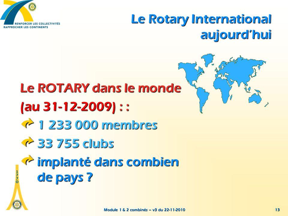 Module 1 & 2 combinés – v3 du 22-11-2010 13 Le ROTARY dans le monde (au 31-12-2009) : : 1 233 000 membres 33 755 clubs implanté dans combien de pays ?