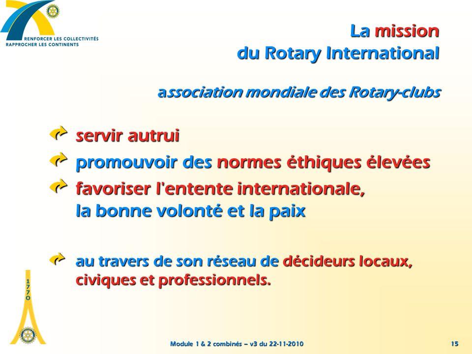 Module 1 & 2 combinés – v3 du 22-11-2010 15 La mission du Rotary International association mondiale des Rotary-clubs servir autrui promouvoir des norm