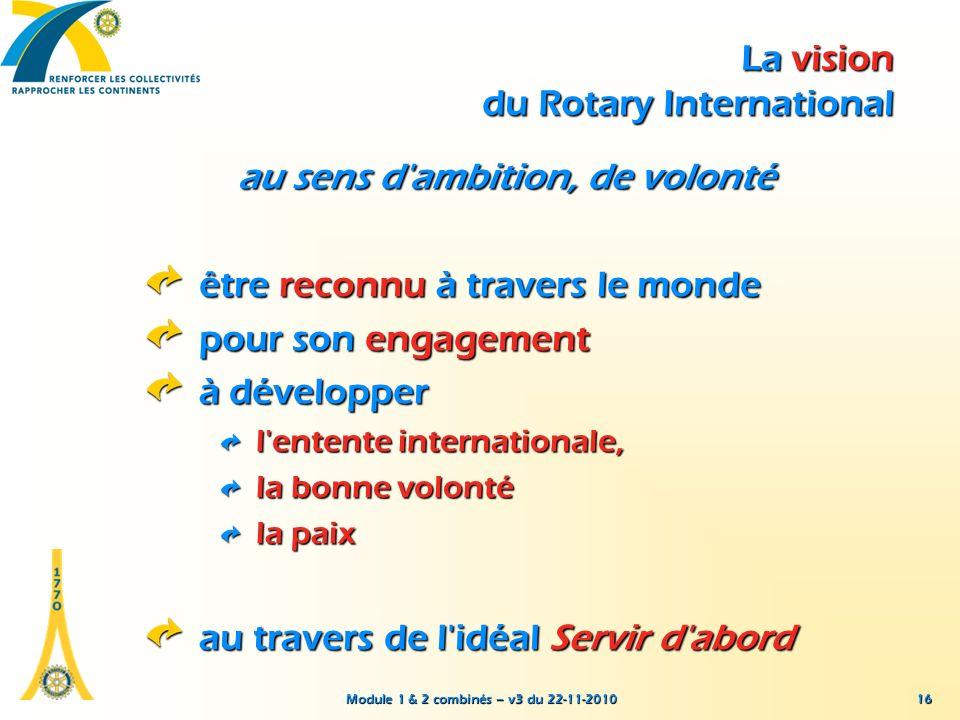 Module 1 & 2 combinés – v3 du 22-11-2010 16 La vision du Rotary International au sens d'ambition, de volonté être reconnu à travers le monde pour son