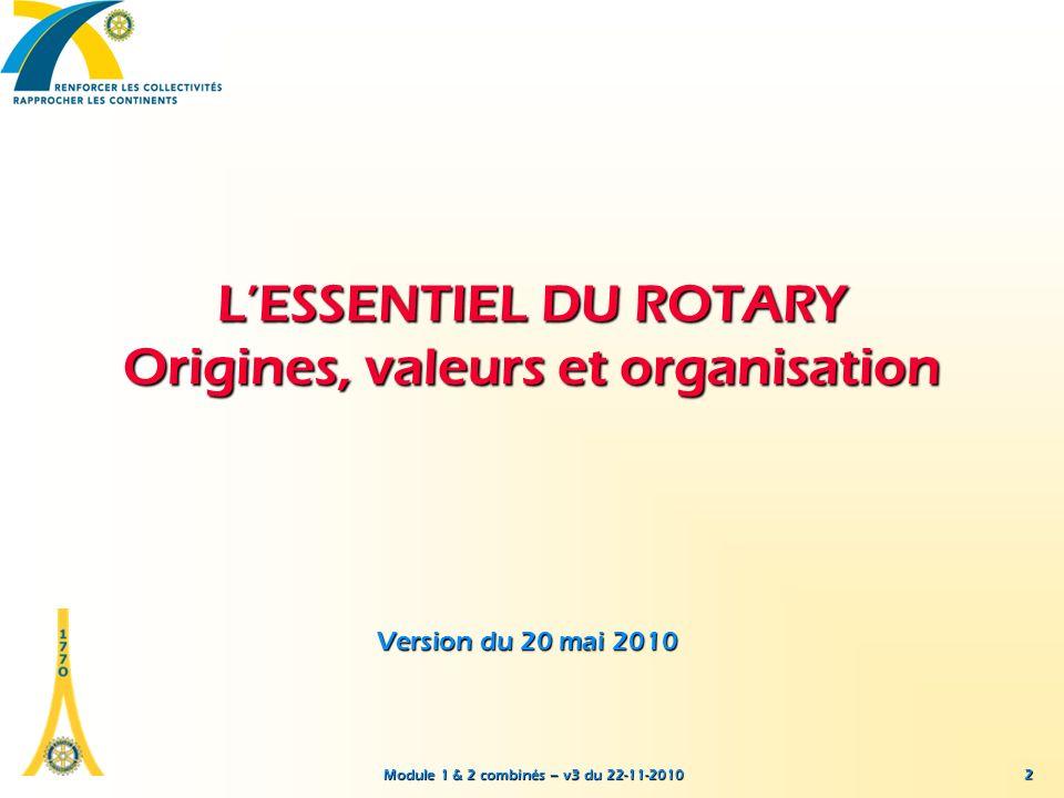 Module 1 & 2 combinés – v3 du 22-11-2010 LESSENTIEL DU ROTARY Origines, valeurs et organisation Version du 20 mai 2010 2