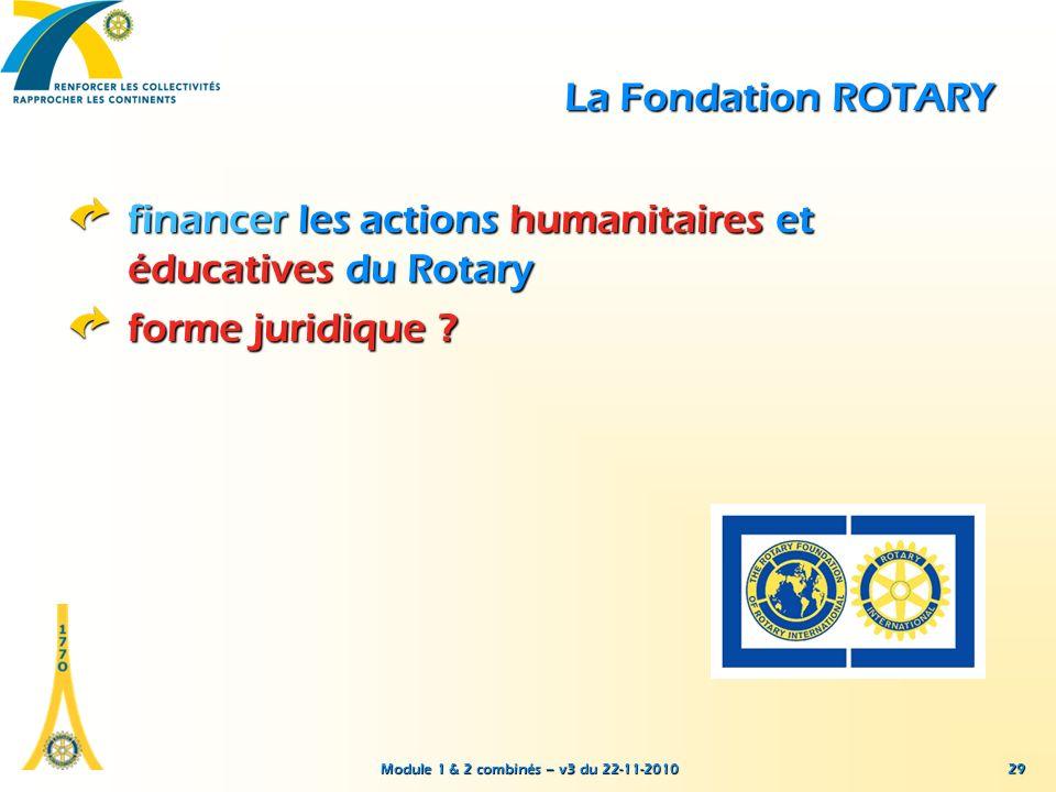 Module 1 & 2 combinés – v3 du 22-11-2010 29 La Fondation ROTARY financer les actions humanitaires et éducatives du Rotary forme juridique ?