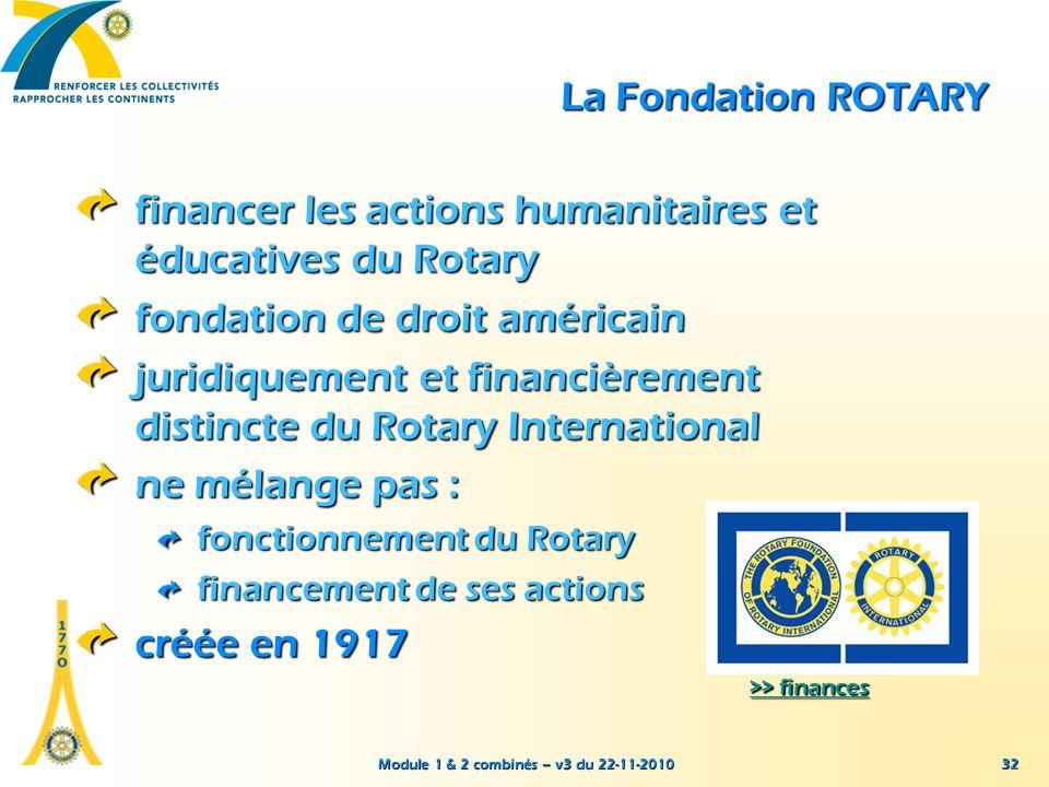 Module 1 & 2 combinés – v3 du 22-11-2010 32 La Fondation ROTARY financer les actions humanitaires et éducatives du Rotary fondation de droit américain
