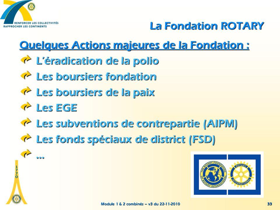 Module 1 & 2 combinés – v3 du 22-11-2010 33 La Fondation ROTARY Quelques Actions majeures de la Fondation : Léradication de la polio Les boursiers fon