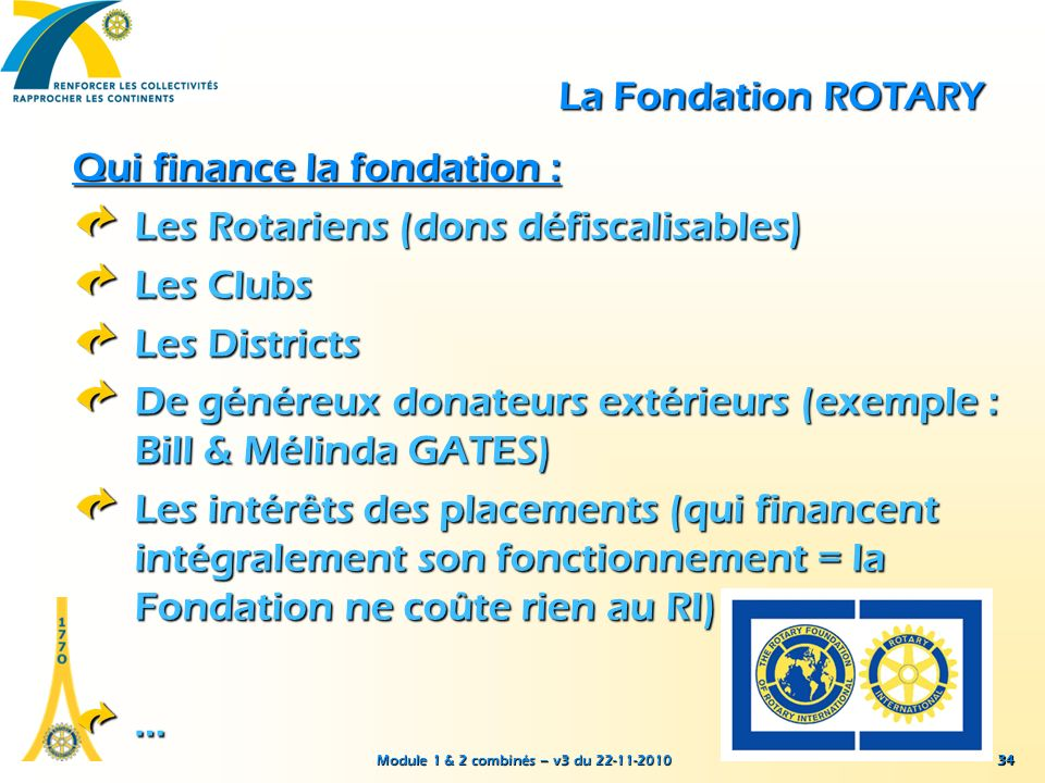 Module 1 & 2 combinés – v3 du 22-11-2010 34 La Fondation ROTARY Qui finance la fondation : Les Rotariens (dons défiscalisables) Les Clubs Les District