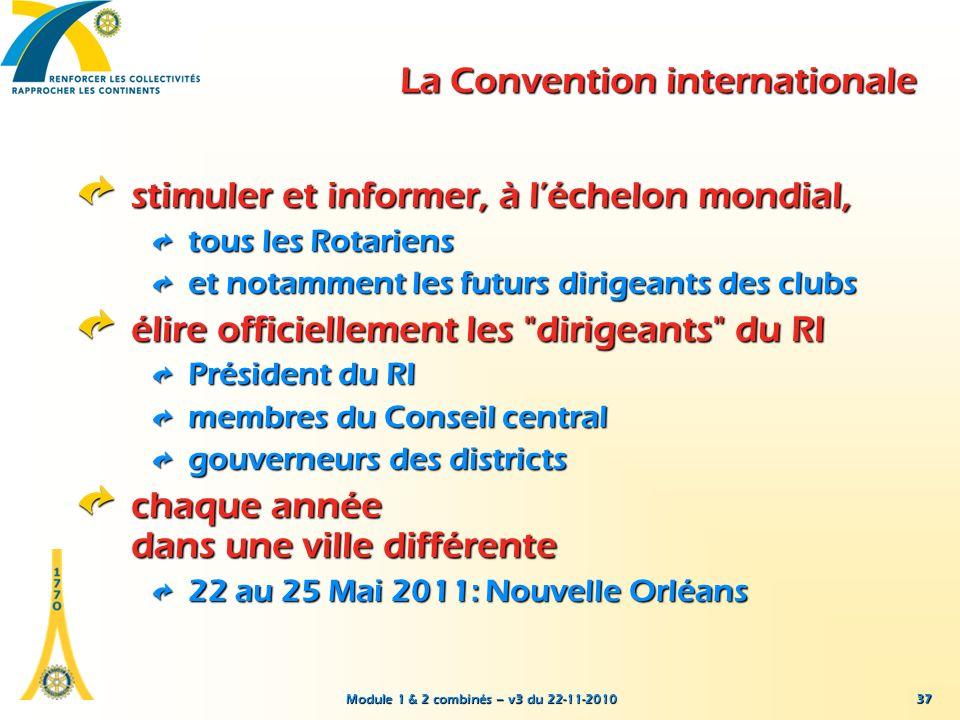 Module 1 & 2 combinés – v3 du 22-11-2010 37 La Convention internationale stimuler et informer, à léchelon mondial, tous les Rotariens et notamment les