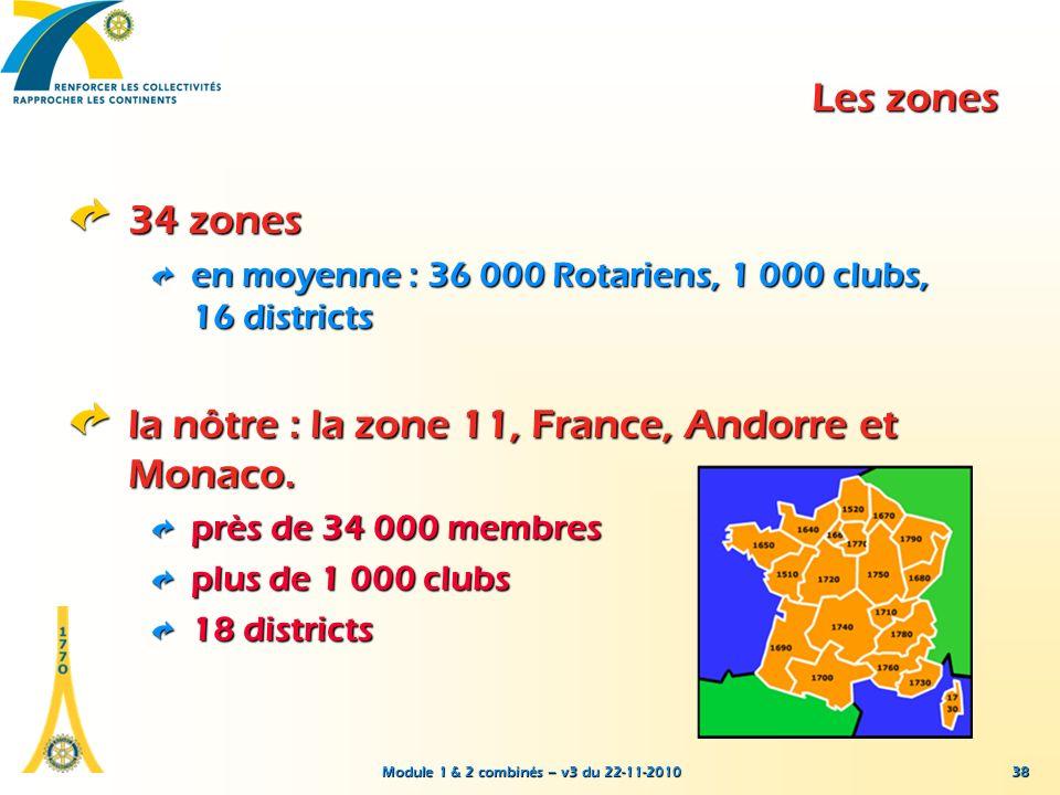 Module 1 & 2 combinés – v3 du 22-11-2010 38 Les zones 34 zones en moyenne : 36 000 Rotariens, 1 000 clubs, 16 districts la nôtre : la zone 11, France,