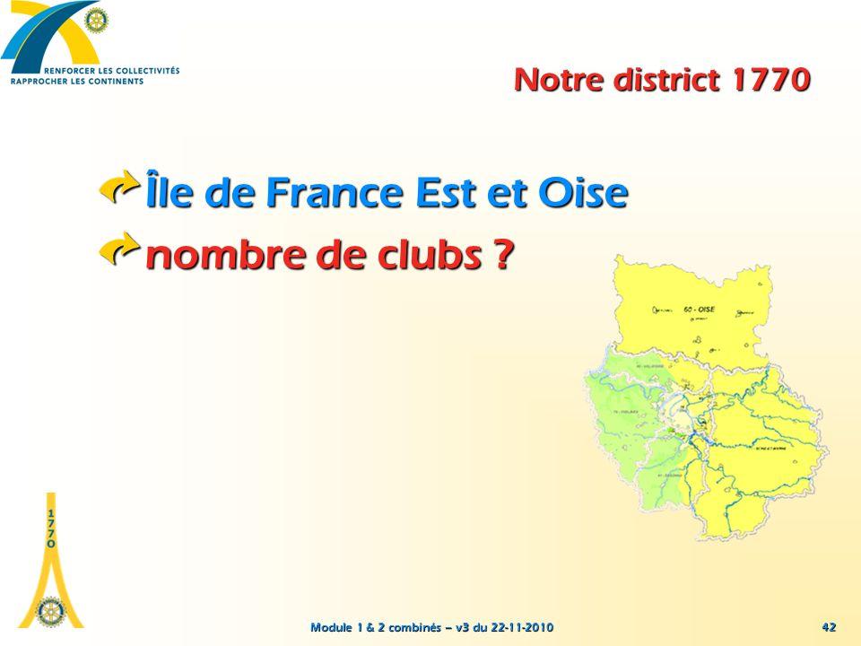 Module 1 & 2 combinés – v3 du 22-11-2010 42 Notre district 1770 Île de France Est et Oise nombre de clubs ?