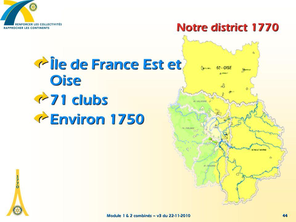 Module 1 & 2 combinés – v3 du 22-11-2010 44 Notre district 1770 Île de France Est et Oise 71 clubs Environ 1750 44