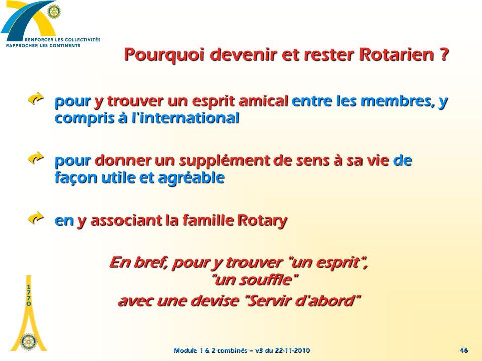 Module 1 & 2 combinés – v3 du 22-11-2010 46 pour y trouver un esprit amical entre les membres, y compris à l'international pour donner un supplément d