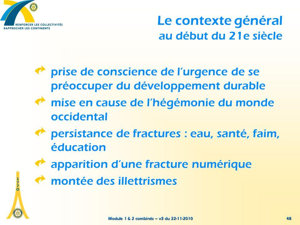Module 1 & 2 combinés – v3 du 22-11-2010 Le contexte général au début du 21e siècle prise de conscience de lurgence de se préoccuper du développement