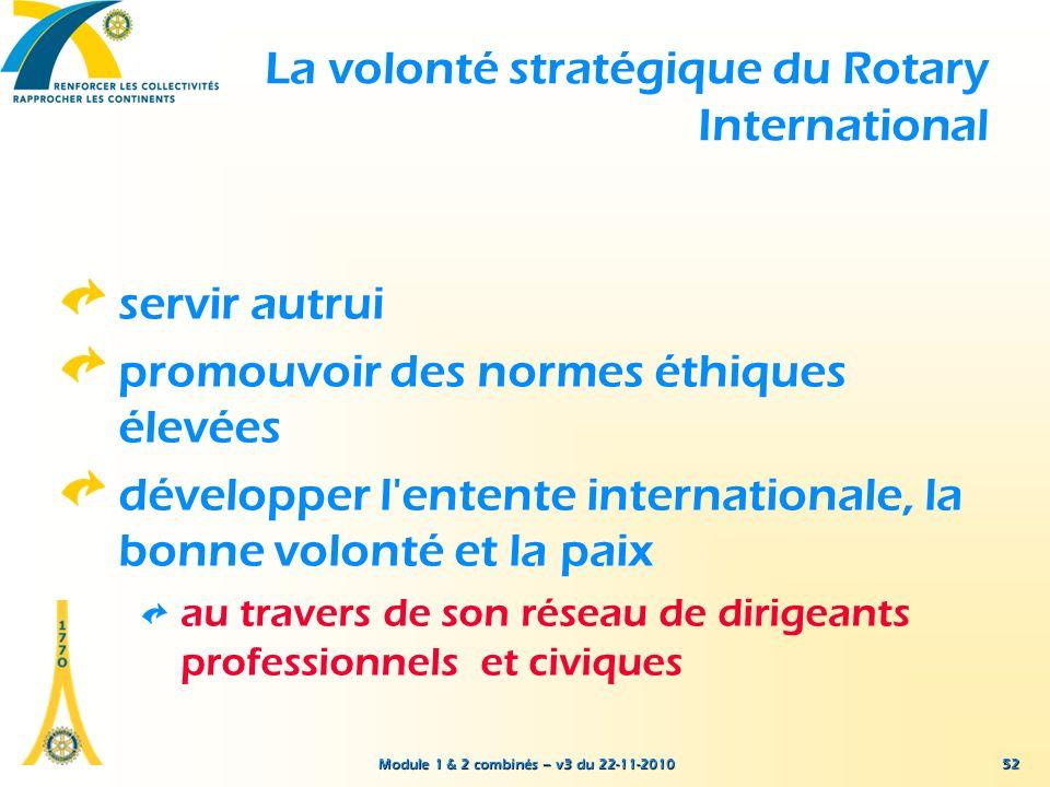 Module 1 & 2 combinés – v3 du 22-11-2010 La volonté stratégique du Rotary International servir autrui promouvoir des normes éthiques élevées développe