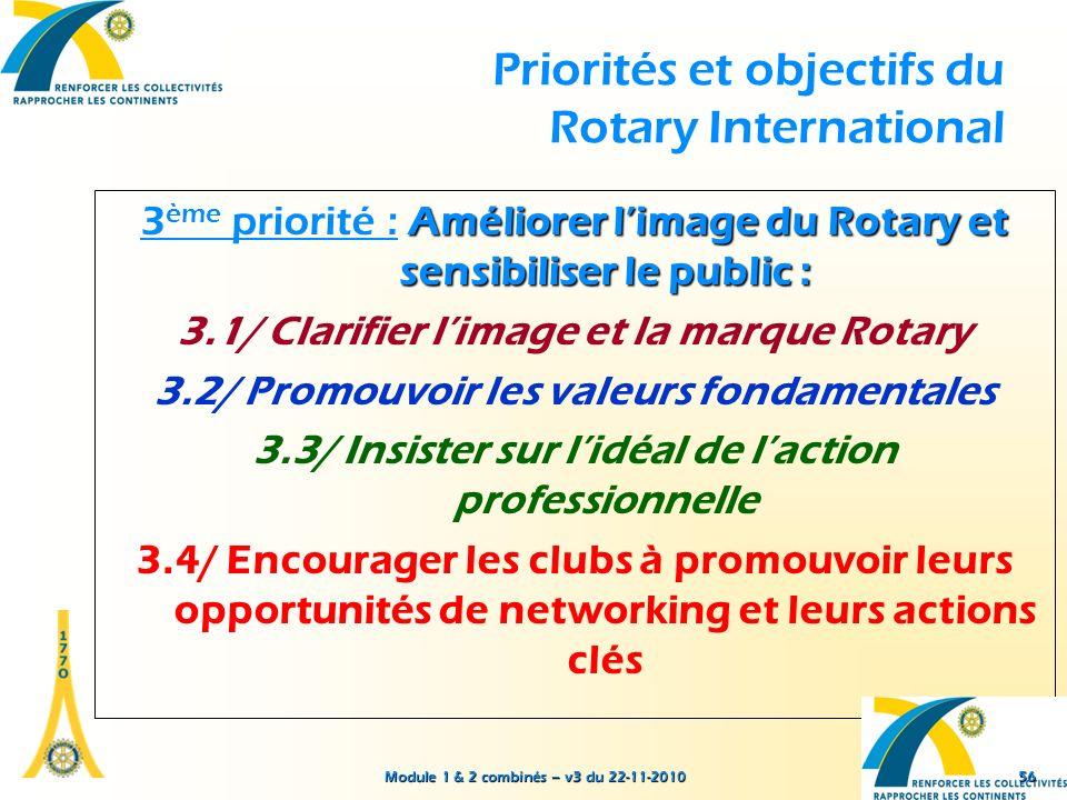 Module 1 & 2 combinés – v3 du 22-11-2010 Priorités et objectifs du Rotary International Améliorer limage du Rotary et sensibiliser le public : 3 ème p