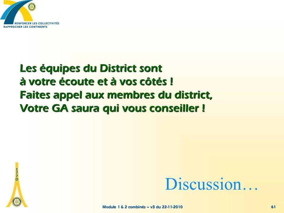 Module 1 & 2 combinés – v3 du 22-11-2010 Les équipes du District sont à votre écoute et à vos côtés ! Faites appel aux membres du district, Votre GA s