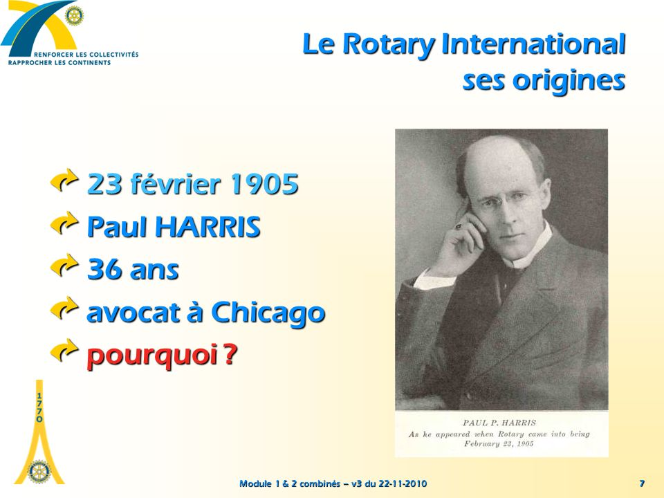 Module 1 & 2 combinés – v3 du 22-11-2010 7 23 février 1905 Paul HARRIS 36 ans avocat à Chicago pourquoi ? Le Rotary International ses origines