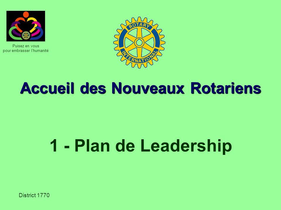 Puisez en vous pour embrasser lhumanité District 1770 Accueil des Nouveaux Rotariens 1 - Plan de Leadership