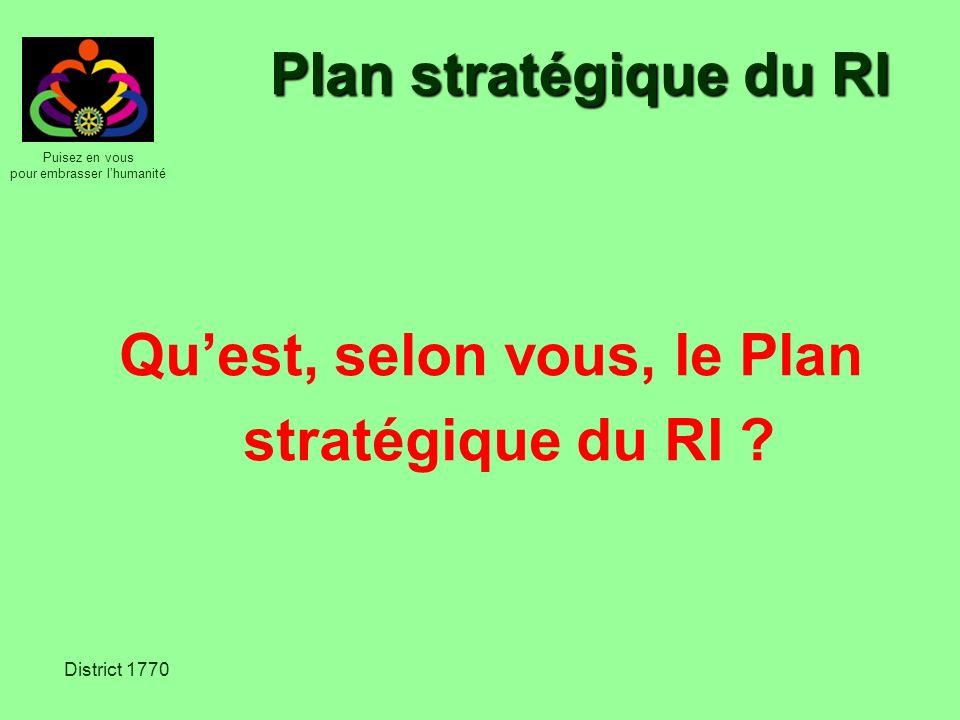 Puisez en vous pour embrasser lhumanité District 1770 Plan stratégique du RI Quest, selon vous, le Plan stratégique du RI ?