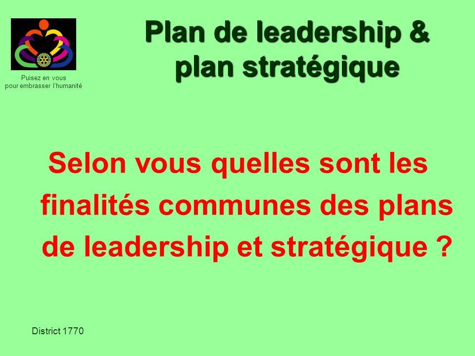 Puisez en vous pour embrasser lhumanité District 1770 Plan de leadership & plan stratégique Selon vous quelles sont les finalités communes des plans d