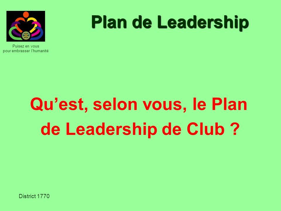 Puisez en vous pour embrasser lhumanité District 1770 Plan stratégique du RI Des clubs plus efficaces Des actions plus efficaces Une plus grande visibilité