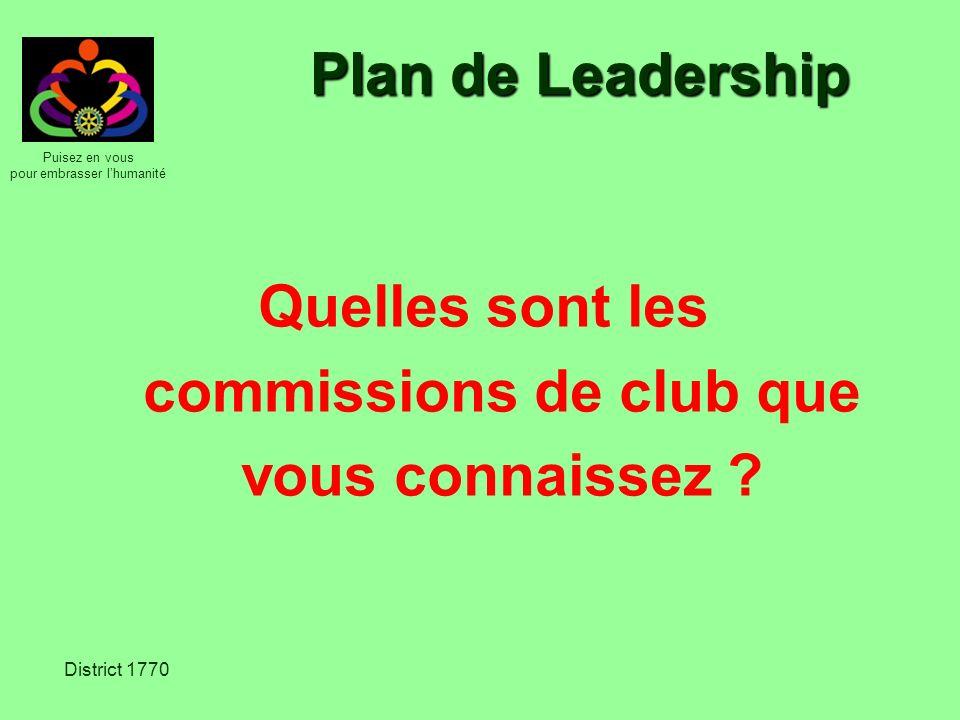 Puisez en vous pour embrasser lhumanité District 1770 Plan de Leadership Les 5 commissions de club : Effectif Relations publiques Administration du club Actions Fondation Rotary