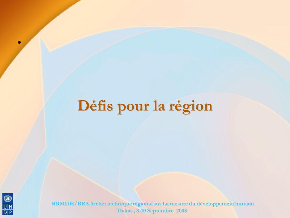 BRMDH/BRA Atelier technique régional sur La mesure du développement humain BRMDH/BRA Atelier technique régional sur La mesure du développement humain Dakar, 8-10 Septembre 2008 Défis pour la région