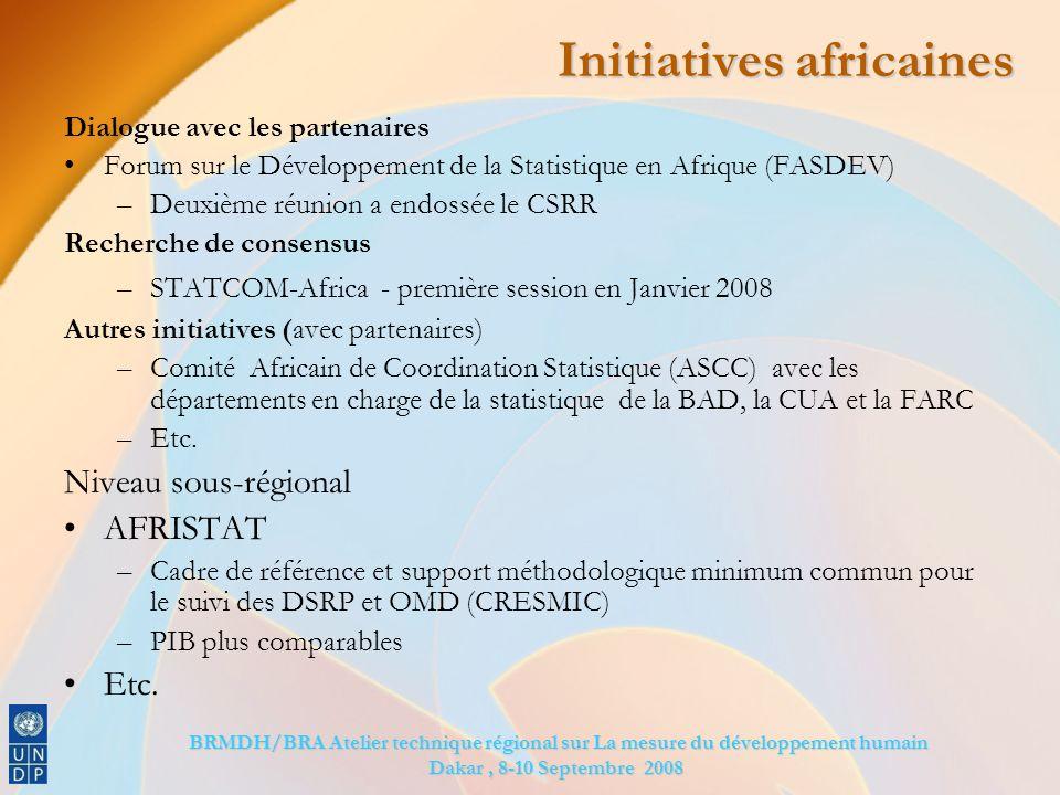 BRMDH/BRA Atelier technique régional sur La mesure du développement humain BRMDH/BRA Atelier technique régional sur La mesure du développement humain Dakar, 8-10 Septembre 2008 Initiatives africaines Dialogue avec les partenaires Forum sur le Développement de la Statistique en Afrique (FASDEV) –Deuxième réunion a endossée le CSRR Recherche de consensus –STATCOM-Africa - première session en Janvier 2008 Autres initiatives (avec partenaires) –Comité Africain de Coordination Statistique (ASCC) avec les départements en charge de la statistique de la BAD, la CUA et la FARC –Etc.