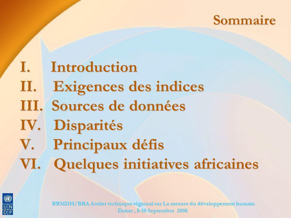 BRMDH/BRA Atelier technique régional sur La mesure du développement humain BRMDH/BRA Atelier technique régional sur La mesure du développement humain Dakar, 8-10 Septembre 2008 Sommaire I.