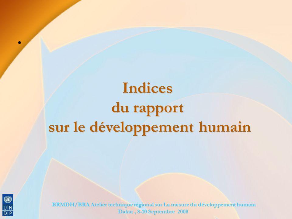BRMDH/BRA Atelier technique régional sur La mesure du développement humain BRMDH/BRA Atelier technique régional sur La mesure du développement humain Dakar, 8-10 Septembre 2008 Indices du rapport sur le développement humain