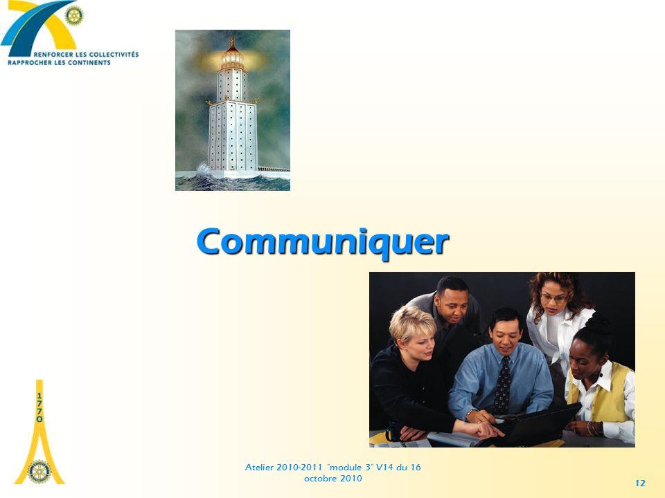 Atelier 2010-2011 module 3 V14 du 16 octobre 2010 12 Communiquer
