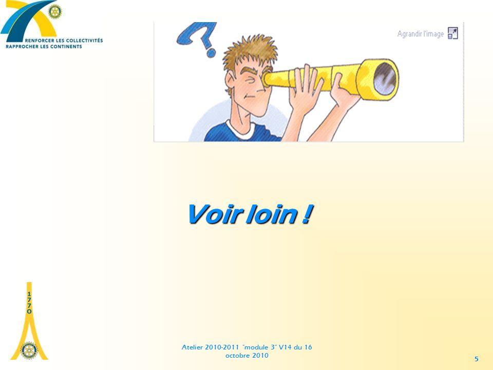 Atelier 2010-2011 module 3 V14 du 16 octobre 2010 55 Voir loin !