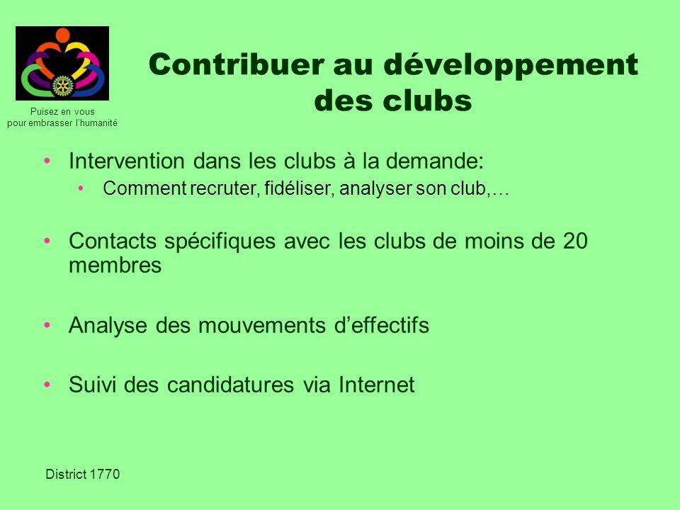 Puisez en vous pour embrasser lhumanité District 1770 Contribuer au développement des clubs Intervention dans les clubs à la demande: Comment recruter