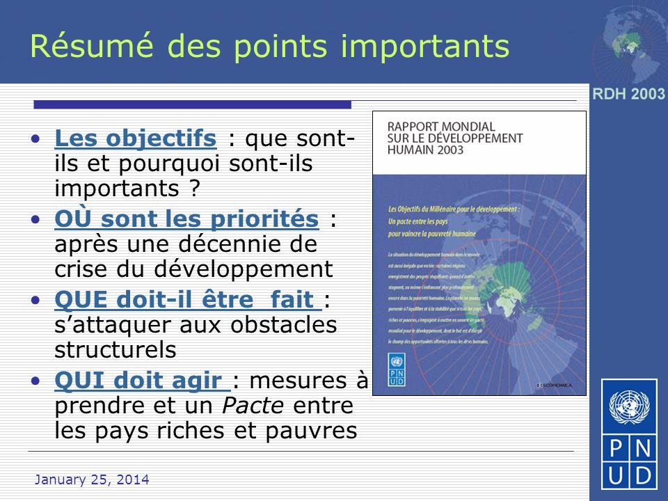 January 25, 2014 Les Objectifs Huit objectifs ambitieux qui lient les pays riches et pauvres pour vaincre la pauvret é résumé des points importants