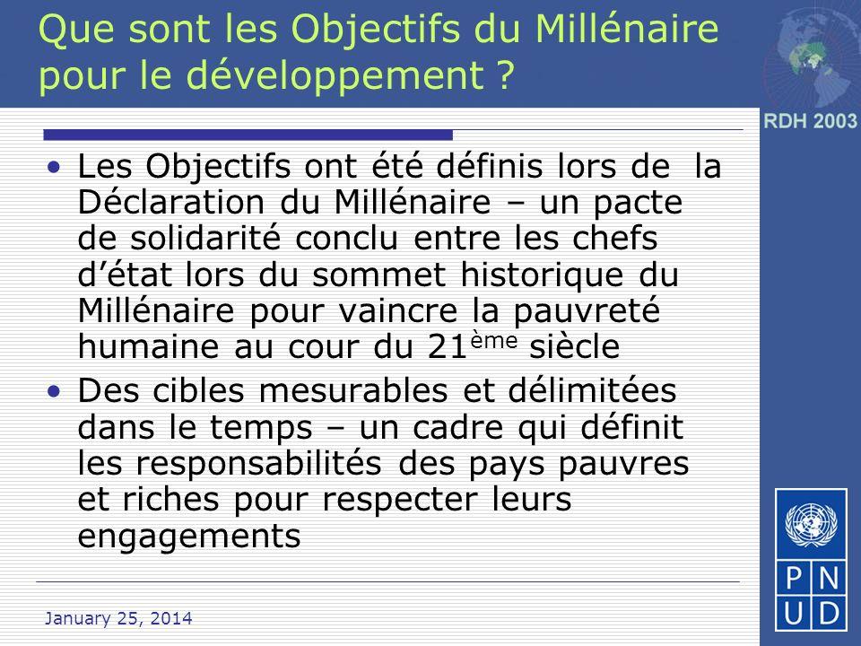 January 25, 2014 Que sont les Objectifs du Millénaire pour le développement .