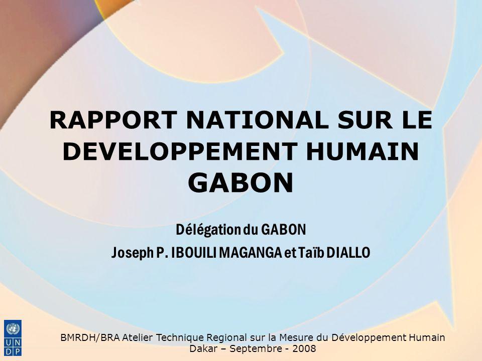 RAPPORT NATIONAL SUR LE DEVELOPPEMENT HUMAIN GABON Délégation du GABON Joseph P. IBOUILI MAGANGA et Taïb DIALLO BMRDH/BRA Atelier Technique Regional s