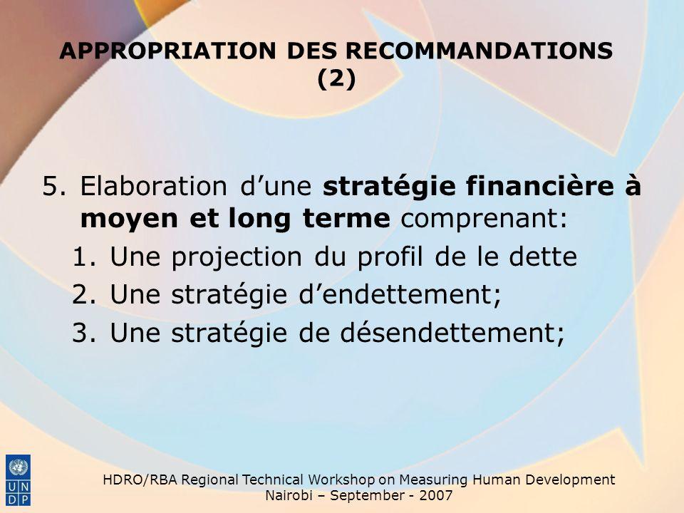APPROPRIATION DES RECOMMANDATIONS (2) 5.Elaboration dune stratégie financière à moyen et long terme comprenant: 1.Une projection du profil de le dette