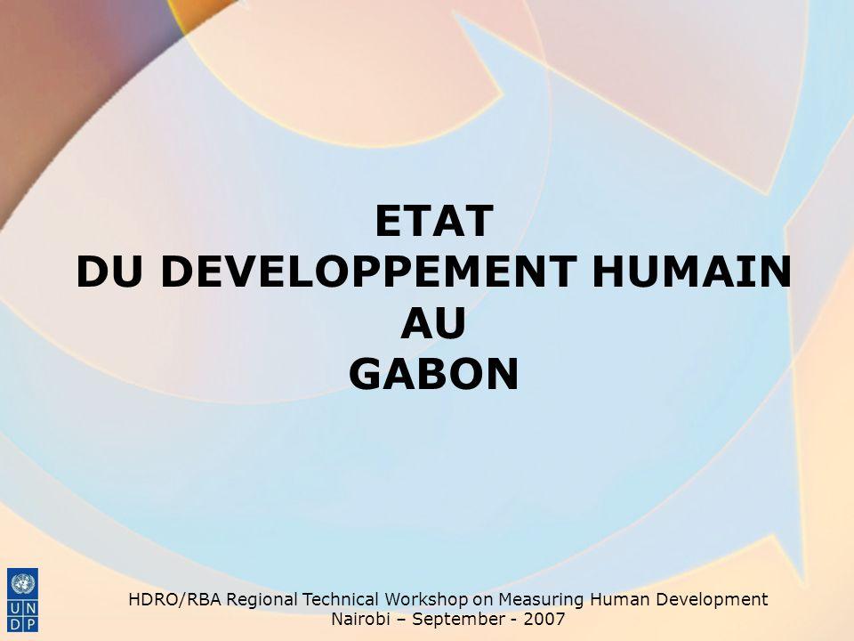 ETAT DU DEVELOPPEMENT HUMAIN AU GABON HDRO/RBA Regional Technical Workshop on Measuring Human Development Nairobi – September - 2007