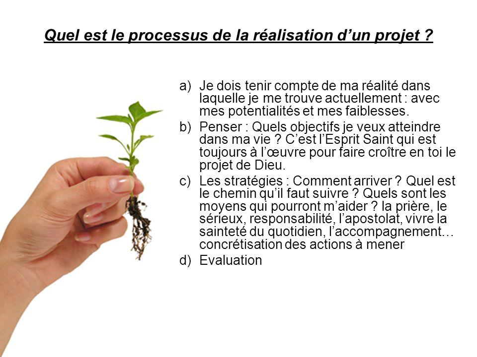 Quel est le processus de la réalisation dun projet ? a)Je dois tenir compte de ma réalité dans laquelle je me trouve actuellement : avec mes potential