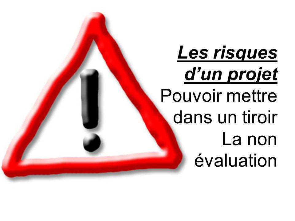 Les risques dun projet Pouvoir mettre dans un tiroir La non évaluation