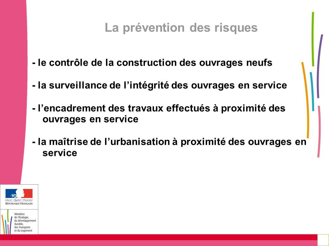 La prévention des risques - le contrôle de la construction des ouvrages neufs - la surveillance de lintégrité des ouvrages en service - lencadrement d