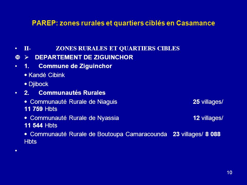 10 PAREP: zones rurales et quartiers ciblés en Casamance II- ZONES RURALES ET QUARTIERS CIBLES DEPARTEMENT DE ZIGUINCHOR 1.