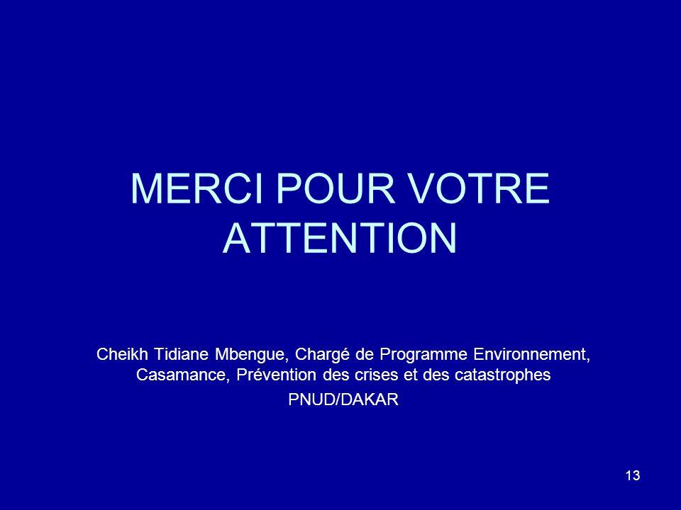 13 MERCI POUR VOTRE ATTENTION Cheikh Tidiane Mbengue, Chargé de Programme Environnement, Casamance, Prévention des crises et des catastrophes PNUD/DAKAR